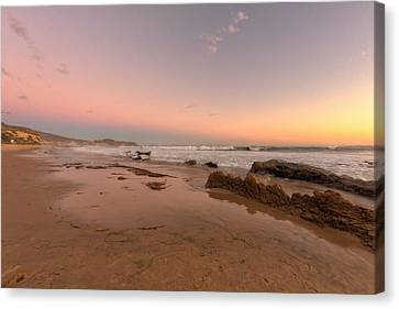 Sunset At Crystal Cove Hdr Canvas Print by Angela A Stanton