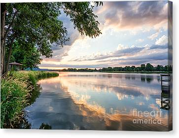 Canvas Print featuring the photograph Sunset At Fishing Pier by Kari Yearous