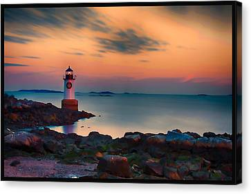 Sunset At Fort Pickering Lighthouse Canvas Print by Jeff Folger