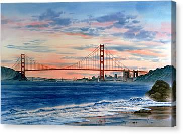Sunset At Golden Gate Bridge Canvas Print by John YATO