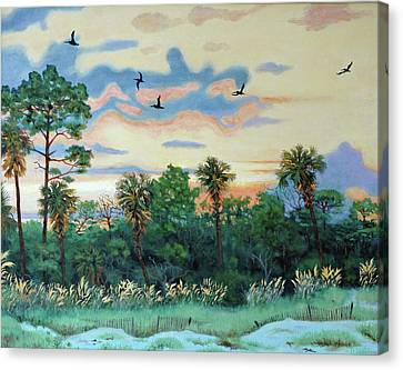 Canvas Print featuring the painting Sunset At Hunting Island by Dwain Ray
