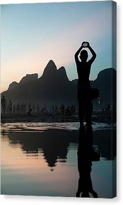 Dois Irmaos Canvas Print - Sunset At Ipanema Beach, Rio De by Kevin Berne