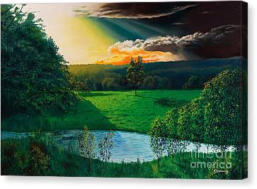 Sunset At L Hermitiere Canvas Print by Christian Simonian
