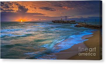 Sunset At La Caleta Beach Cadiz Spain Canvas Print by Pablo Avanzini
