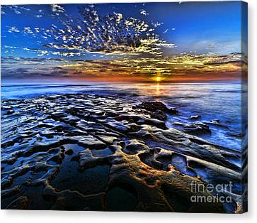 Sunset At La Jolla Tide Pools Canvas Print by Peter Dang