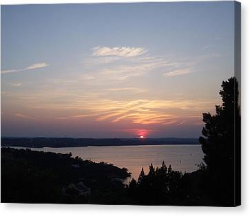 Sunset At Lake Travis Canvas Print by Cindy Croal