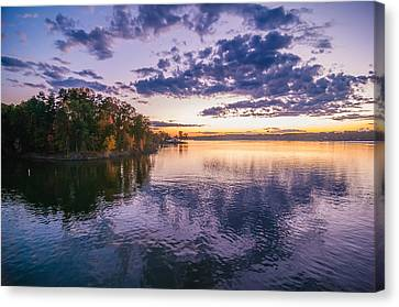 Lake Wylie Canvas Print - Sunset At Lake Wylie by Alex Grichenko