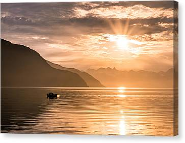 Sunset At Lyngenfjord Canvas Print by Janne Mankinen