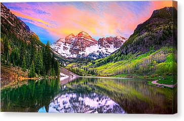 Snow Landscape Canvas Print - Sunset At Maroon Bells And Maroon Lake Aspen Co by James O Thompson