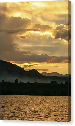 Smokey Sunset At Marshall Lake Canvas Print by Juli Ellen