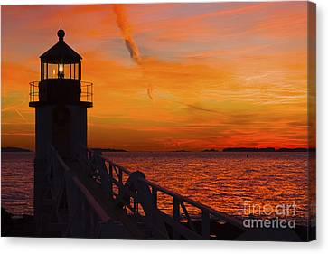 Sunset At Marshall Point Lighthouse At Sunset Maine Canvas Print