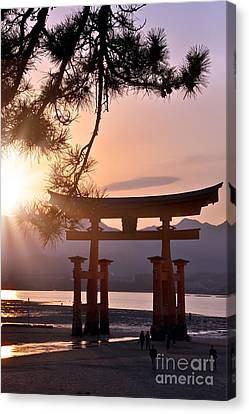 Torii Canvas Print - Sunset At Miyajima by Delphimages Photo Creations