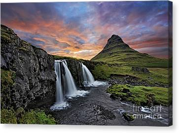 Sunset At Mt. Kirkjufell Canvas Print