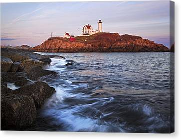 Sunset At Nubble Light Canvas Print by Eric Gendron