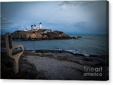 Sunset At Nubble Light House Canvas Print by Sue OConnor