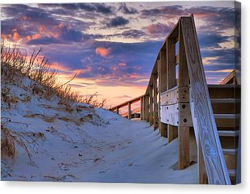 Sunset At Ocracoke Canvas Print by Steven Ainsworth