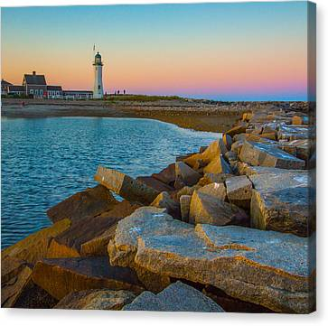 Sunset At Old Scituate Lighthouse Canvas Print by Brian MacLean