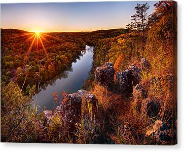Sunset At Paint-rock Bluff Canvas Print by Robert Charity