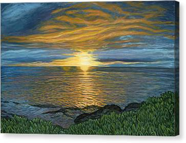 Sunset At Paradise Cove Canvas Print by Michael Allen Wolfe