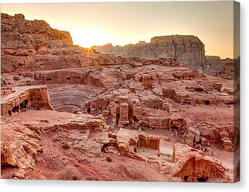 Sunset At Petra Canvas Print by Alexey Stiop