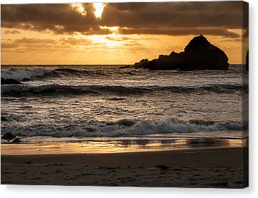 Canvas Print featuring the photograph Sunset At Pfeiffer State Beach by Lee Kirchhevel
