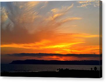 Sunset At Point Loma From Coronado California Canvas Print