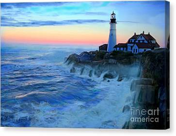 Sunset At Portland Head Lighthouse Canvas Print by Earl Jackson