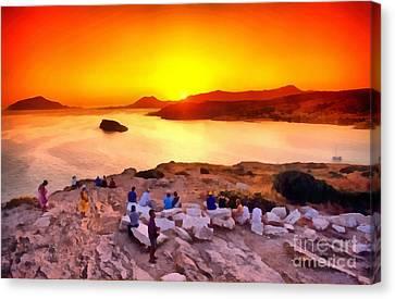 Sunset At Poseidon Temple Canvas Print by George Atsametakis