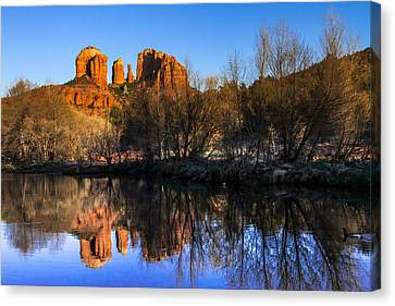 Sunset At Red Rocks Crossing In Sedona Az Canvas Print by Teri Virbickis