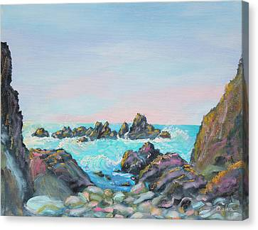 Turquoise And Rust Canvas Print - Sunset At Reef Cove by Asha Carolyn Young