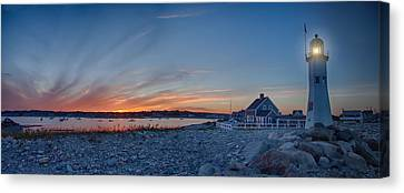 Sunset At Scituate Light Canvas Print by Jeff Folger