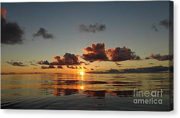 Canvas Print featuring the photograph Sunset At Sea by Laura  Wong-Rose