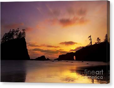 Sunset At Second Beach Canvas Print by Keith Kapple