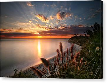 Sunset At Swamis Beach 7 Canvas Print by Larry Marshall
