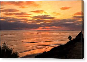 Sunset At Swami's Encinitas Canvas Print by Michael Pickett
