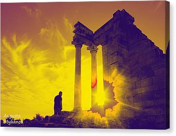 God Of Light Canvas Print - Sunset At Temple Of Apollo  by Augusta Stylianou