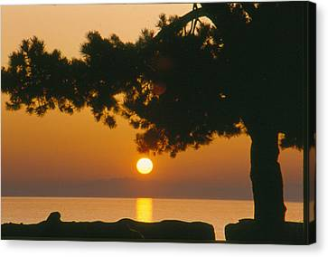 Canvas Print featuring the photograph Sunset At The Beach by Michael Dohnalek