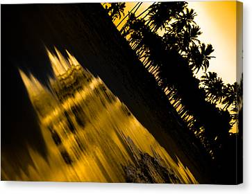 Palm Trees Canvas Print - Sunset At The Beach by Sebastian Musial