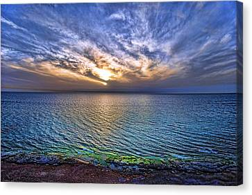 Sunset At The Cliff Beach Canvas Print