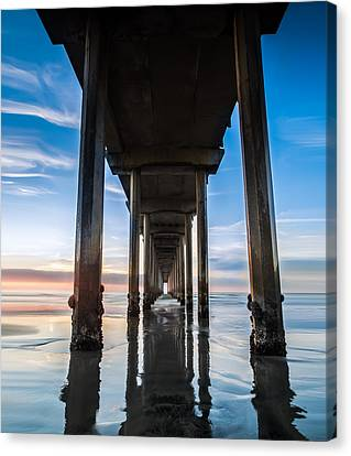 Sunset At The Iconic Scripps Pier Canvas Print by Larry Marshall