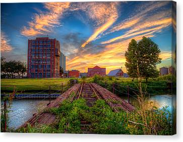 Sunset At The Imperial Sugar Factory Early Stage Landscape Canvas Print by Micah Goff