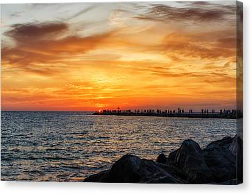 Sunset At The Jetties Canvas Print by Frank J Benz