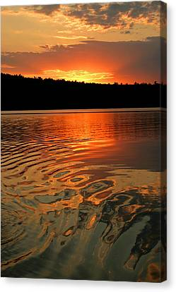 Canvas Print featuring the photograph Sunset At The Lake by Barbara West