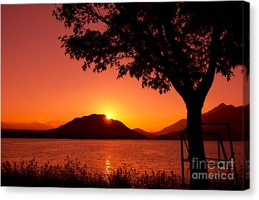 Beautiful Autumn Day Canvas Print - Sunset At The Lake by Beverly Claire Kaiya