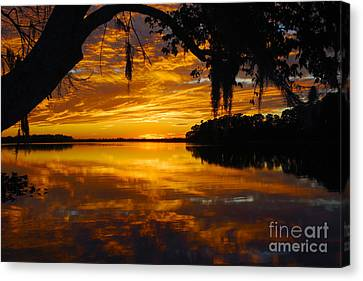 Sunset At The Lake Canvas Print by Rick Mann