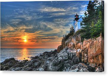 Sunset At The Lighthouse Canvas Print by Sharon Batdorf