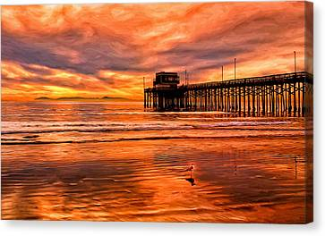 Sunset At The Newport Beach Pier Canvas Print by Michael Pickett