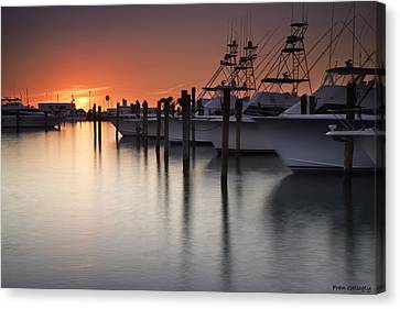 Sunset At The Pelican Yacht Club Canvas Print