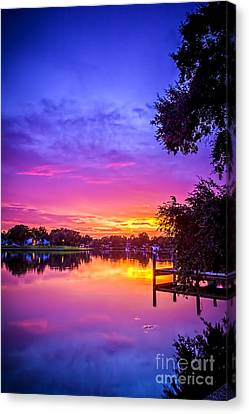 Sunset At The Pier Canvas Print by Marvin Spates