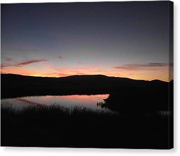 Sunset At The Pit River Canvas Print by James Rishel